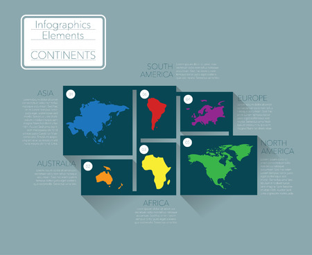 continents: Earth continents, infographics elements. Vector Illustration