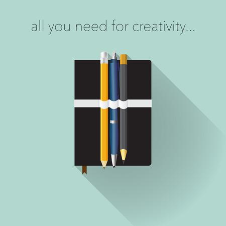 moleskine: Tools for creativity, flat design.