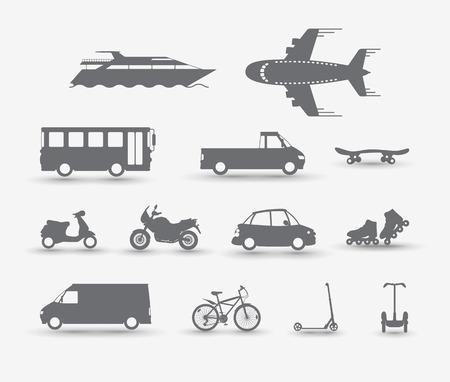 motorbike: Set of traffic vehicles, silhouette illustartion Illustration