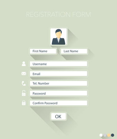 Web registration form, flat design. Vector Reklamní fotografie - 44028105