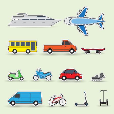 Set of colorful traffic vehicles, stickers, illustartion