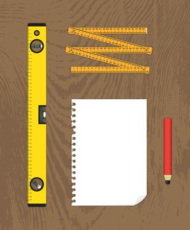 spirit level: Blueprint creation tools, paper, water-level, meter and pencil - illustration Illustration
