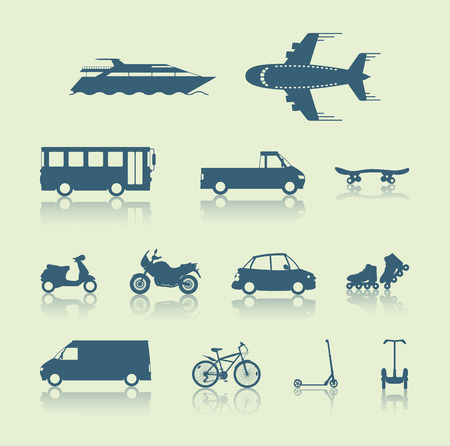 inline skate: Set of traffic vehicles, silhouette illustartion Illustration