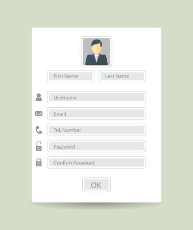 Web 登録フォーム、フラットなデザイン。ベクトル