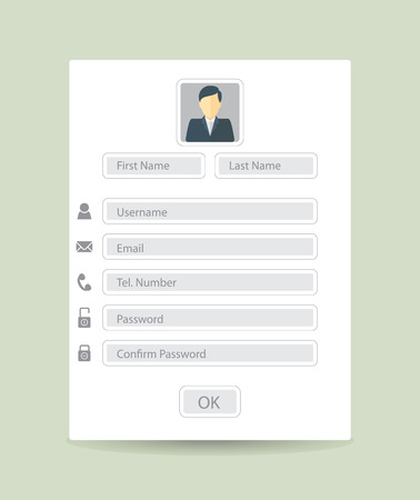 Web registration form, flat design. Vector