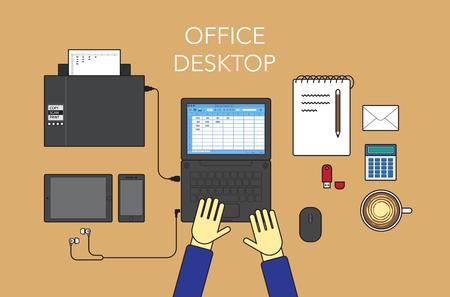 cappucino: Office desktop form up, flat design, vector. Illustration