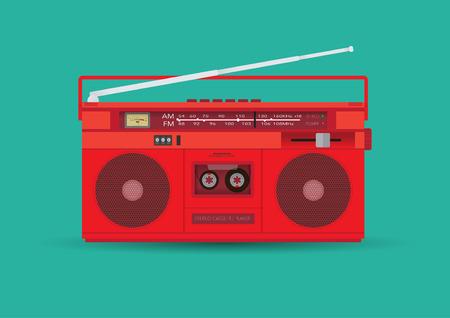 blaster: Magnetic cassette player. Vector