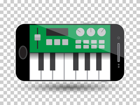 piano roll: music cellphone software. vector Illustration