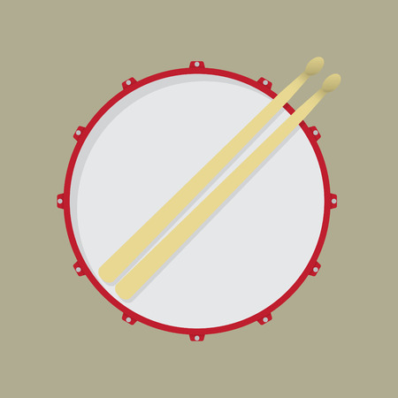 strikken: Snare drum and drumsticks Stock Illustratie