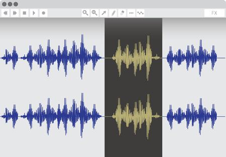 Audio edit software, vector illustration Illustration