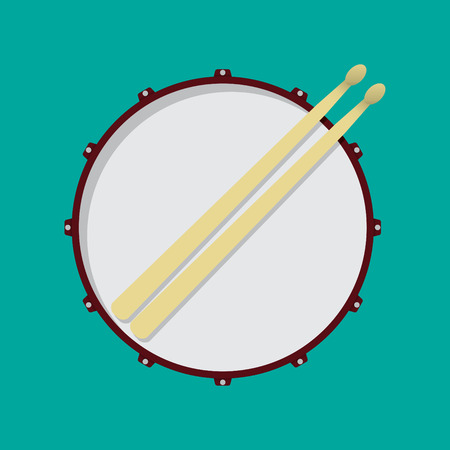 snare drum: Snare drum and drumsticks Illustration