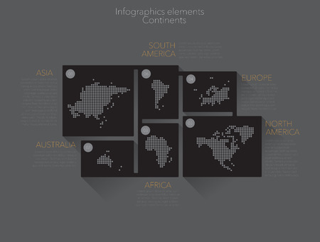 the continents: Earth continents, infographics elements. Vector Illustration