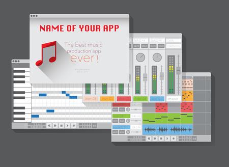 fx: DAW, music production software (digital audio workstation). Vector template Illustration