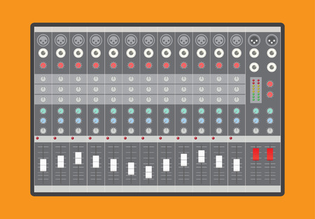 Analoge audio mixer, vector illustratie