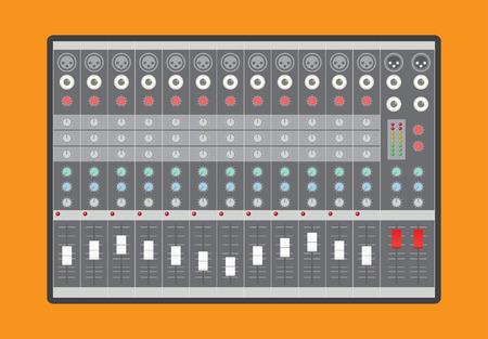 Analoge audio mixer, vector illustratie