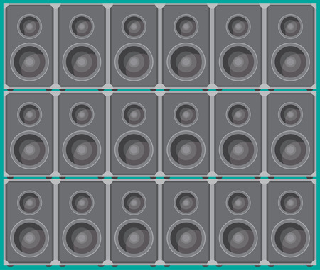 loud   speakers: Wall from the speaker boxes, suitable for a music background or gig poster. Vector illustration Illustration