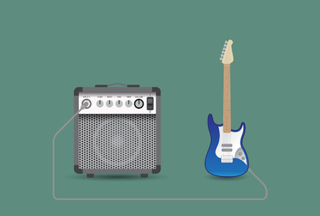 overdrive: Electric guitar and combo, vector illustration.