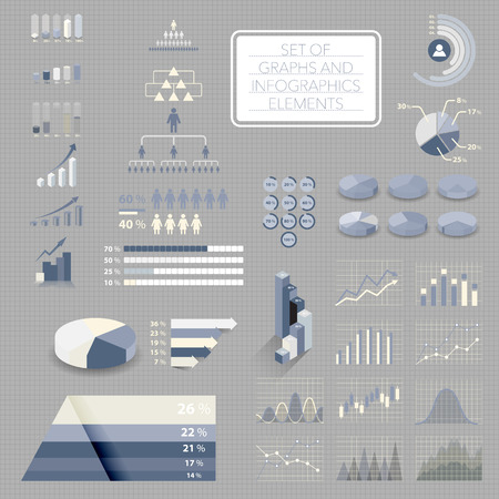 charts graphs: Set of charts, graphs and infographics elements. Useful for business presentation, vector. Illustration