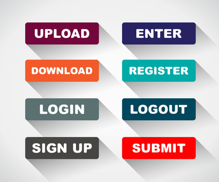 login button: Web UI icon elements- Login, Sign up, Submit, Download, Upload, Enter and Logout buttons. Vector illustration. Illustration