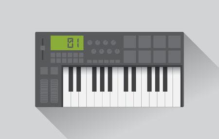 Midi master keyboard in flat design, vector