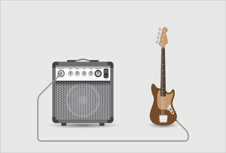 combo: Bass guitar and combo, vector illustration.