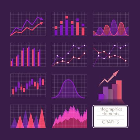 violet: Set of charts, infographics elements.