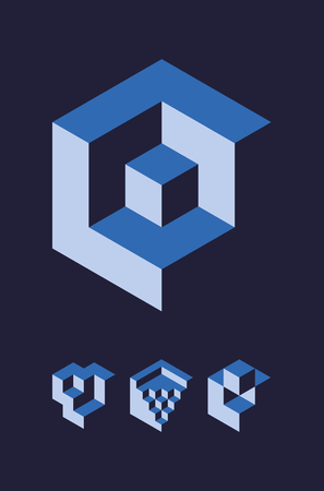 disorganization: Set of cubic objects, useful for corporate or science logo