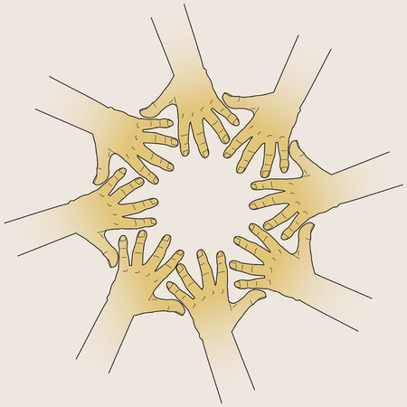 hands together: Hands touching to Each Other, creating round.