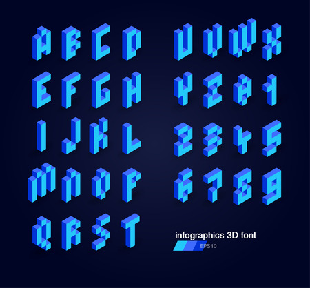 corporal: 3d pixel alphabet and numbers Illustration