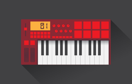electronic background: Midi master keyboard in flat design,