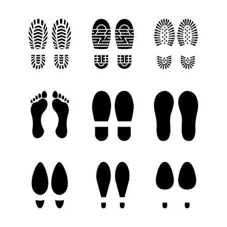 Set of footprints and shoes Ilustrace