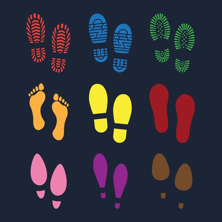 Set of footprints and shoes Illustration