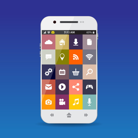 cellphone: Cellphone with flat icons