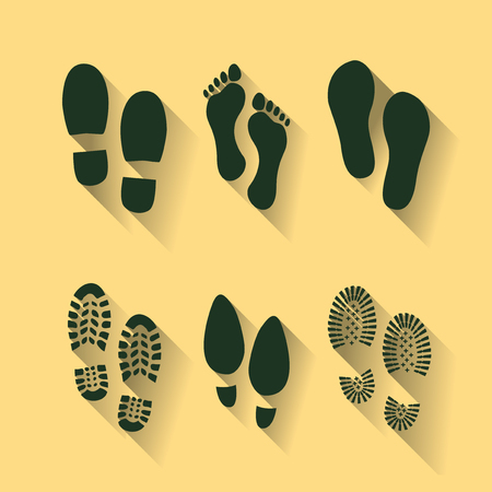 Set of footprints and shoes  イラスト・ベクター素材