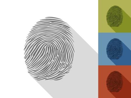 fingerprint: Set of fingerprint in a flat design