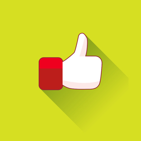 one to one: Thumb up icon in a flat design