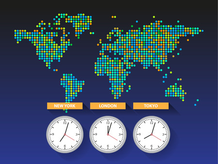 time zone: World time. Dotted world map with different time zone clocks Illustration