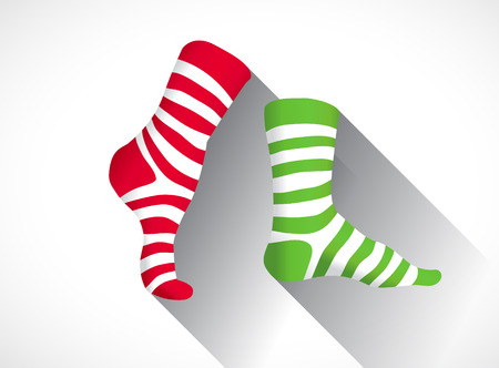 red and white: Stripped socks in a flat design