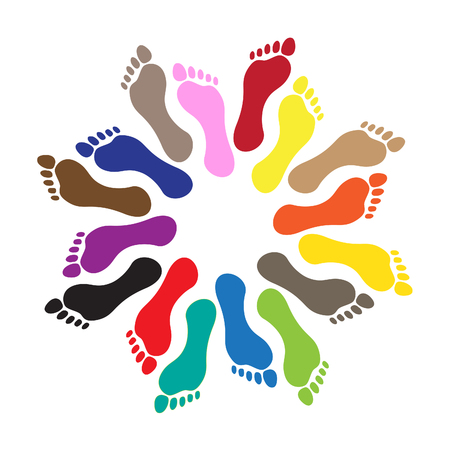 barefoot walking: Round from human barefoots, illustration Illustration