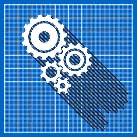 gear icon: Set of cogs in flat design on a blueprint grid Illustration