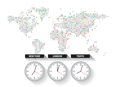 World time. Dotted world map with different time zone clocks Vectores