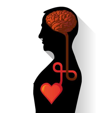 mente: conexión entre el corazón y el cerebro en un diseño plano - ilustración