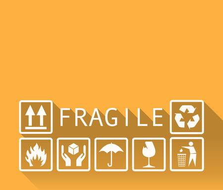 storage box: Fragile template background in a flat design