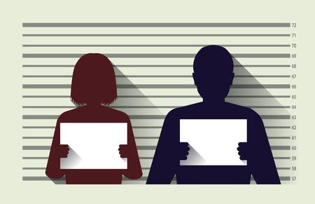 Polizei Strafregister mit Mann und Frau, flaches Design