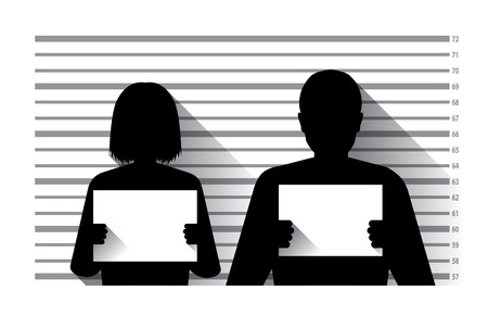 lockup: Police criminal record with man and woman , flat design Illustration