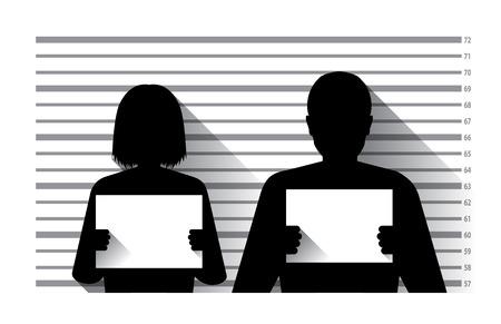 gefangene: Polizei Strafregister mit Mann und Frau, flaches Design Illustration