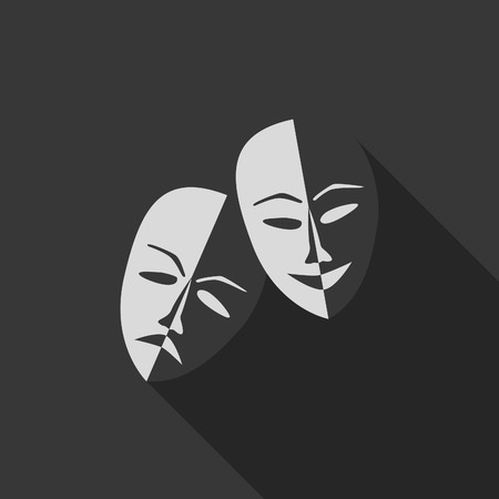 role: Theatre masks lucky and sad, flat design