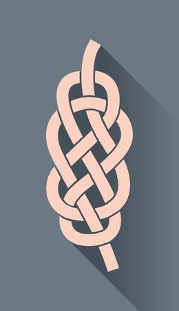 nudos: Nudo en el símbolo de la cuerda, en el diseño plano