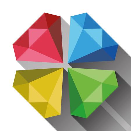 unbreakable: Set of diamond symbols in flat design