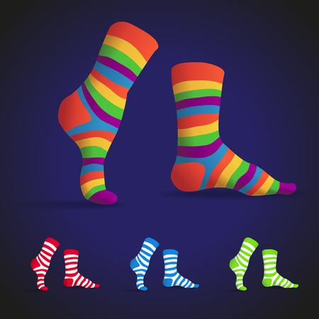 white socks: Set of striped multicolor socks, illustration